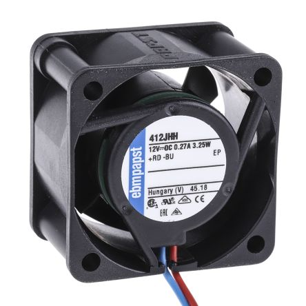 ebm-papst 400J Series Axial Fan, 40 x 40 x 25.4mm, 24m³/h, 3.3W, 12 V dc