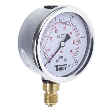 1613003 Analogue Positive Pressure Gauge Bottom Entry 2.5bar, Connection Size G 1/4 product photo
