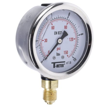1613006 Analogue Positive Pressure Gauge Bottom Entry 10bar, Connection Size G 1/4 product photo