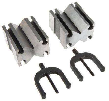 RS PRO Chrome Steel Screw Clamping 70 x 64 x 45mm V Block, 39.6; 31.1mm Capacity