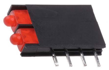 Kingbright L-4060VH/2ID, Red Right Angle PCB LED Indicator, 2 LEDs, Through Hole 2.5 V