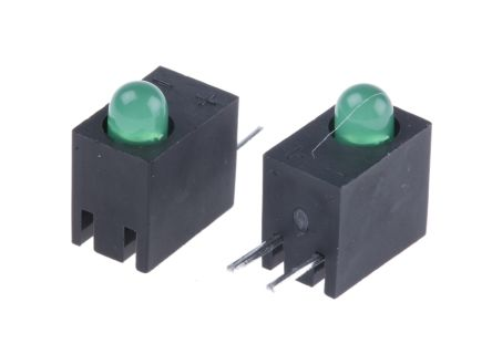 Kingbright L-93A8CB/1GD, Green Right Angle PCB LED Indicator, Through Hole 2.5 V