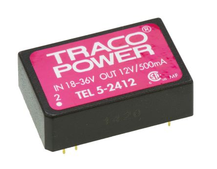 TRACOPOWER TEL 5 5W Isolated DC-DC Converter Through Hole, Voltage in 18 → 36 V dc, Voltage out 12V dc