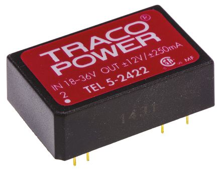 TRACOPOWER TEL 5 5W Isolated DC-DC Converter Through Hole, Voltage in 18 → 36 V dc, Voltage out ±12V dc