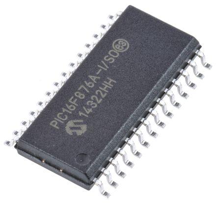 Microchip PIC16F876A-I/SO, 8bit PIC Microcontroller, 20MHz, 14.3 kB, 256 B Flash, 28-Pin SOIC