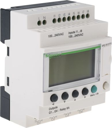 Sr2b121fu Schneider Electric Zelio Logic Module 120 V Ac 240 V Ac Relay 8 X Input 4 X Outputwith Display Rs Components
