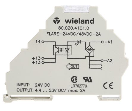 Wieland 2 A Solid State Relay DIN Rail 53 V Maximum Load 80020