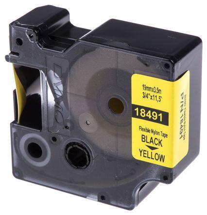 Dymo Black on Yellow Label Printer Tape, 19 mm Width, 3 5 m Length