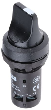ABB C2SS 2 Position Selector Switch Head Short Handle Black Latching