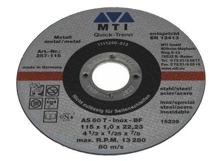 MTI Aluminium Oxide Cutting Disc, 115mm Diameter, 1mm Thick