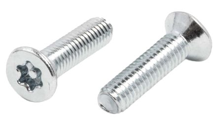 Bright Zinc Plated Flat Steel Tamper Proof Security Screw, M3 x 12mm