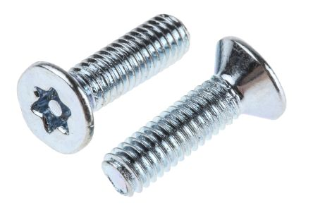 Bright Zinc Plated Flat Steel Tamper Proof Security Screw, M3.5 x 12mm