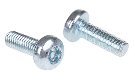 Bright Zinc Plated Pan Steel Tamper Proof Security Screw, M4 x 12mm