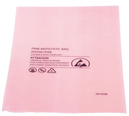 Antistatic pink bag, 155x254mm