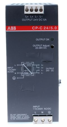 CP-C Switch Mode DIN Rail Panel Mount Power Supply, 120W, 24V dc/ 5A