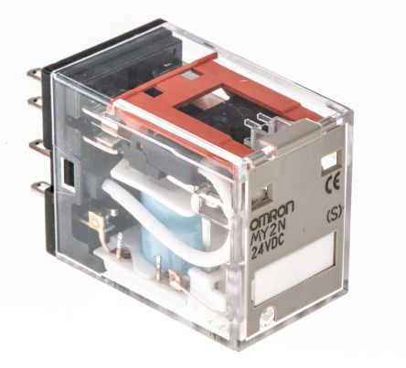 Omron MY DPDT Non-Latching Relay Plug In, 24V dc Coil, 10A on
