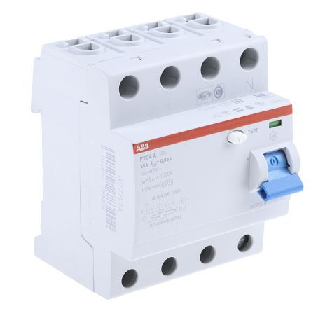 ABB 4 Pole Type A Residual Current Circuit Breaker, 25A F204, 30mA