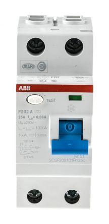 ABB 2 Pole Type A Residual Current Circuit Breaker, 25A F202, 30mA Abb Rcd Wiring Diagram on