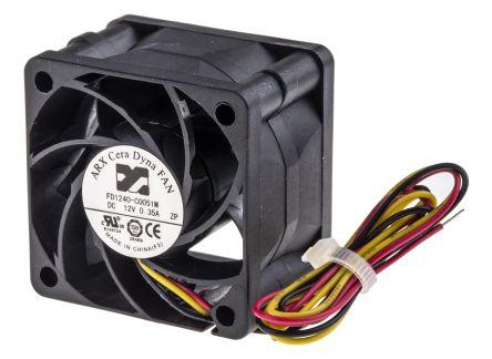DC Axial Fan, 40 x 40 x 28mm, 28.3m³/h, 3.72W, 12 V dc (CeraDyna Series)