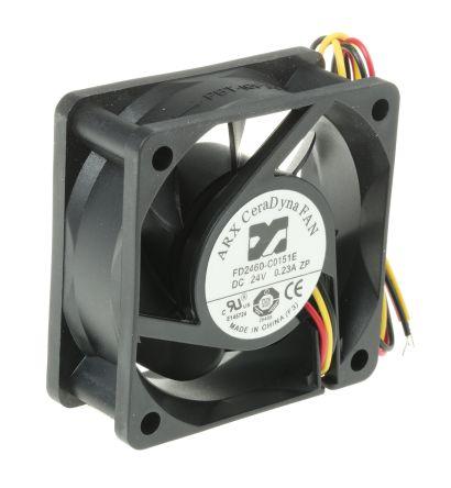 ARX Axial Fan, 60 x 60 x 25.4mm, 33.35m³/h, 4.32W, 24 V dc (CeraDyna Series)