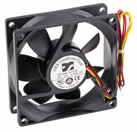 ARX Axial Fan, 80 x 80 x 25.4mm, 67.5m³/h, 2.88W, 12 V dc (CeraDyna Series)