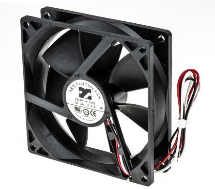 DC Axial Fan, 92 x 92 x 25mm, 108.2m³/h, 4.32W, 24 V dc (CeraDyna Series)