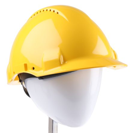 3M PELTOR G3000 Yellow ABS Short Peaked Vented Hard Hat