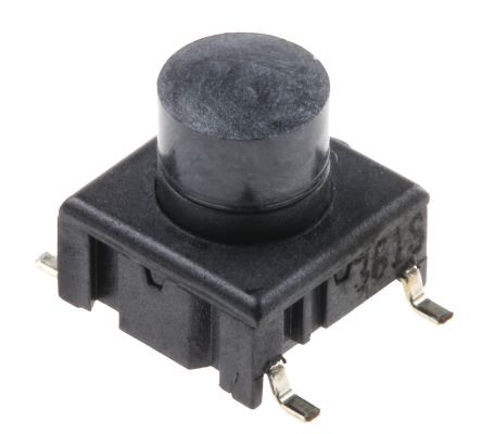 Single Pole Single Throw 50 mA @ 24 V dc 5.3mm Black Button Tactile Switch SPST