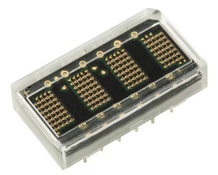 HCMS-2963 Broadcom 4 Digit Dot Matrix LED Display, 7 x 5 Dot Matrix Green 0.11 mcd 4.6mm