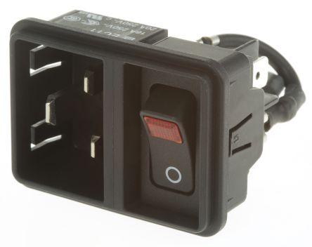 Schurter C20 Snap-In IEC Plug Male, 20A, 250 V ac