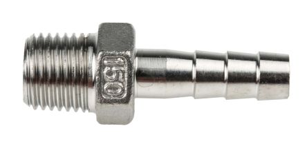 RS PRO Stainless Steel Hexagon Hose Nipple 1/4in R(T) Male Male 1.69in