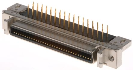 102 Series, Female 68 Pin Right Angle Through Hole SCSI Connector 2.54mm Pitch, Solder product photo