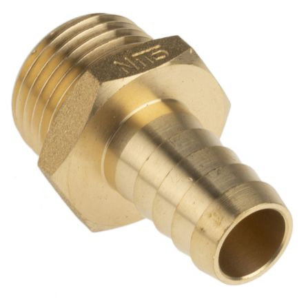 RS PRO Straight Brass Hose Connector, 1/2 in G Male