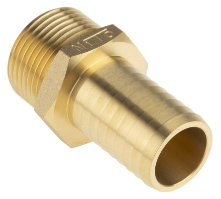 RS PRO Straight Brass Hose Connector, 1 in G Male