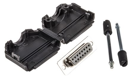 15 Way D-Sub Socket Connector Kit With 5 x Backshells, 5 x Jack Screws, Inserts product photo