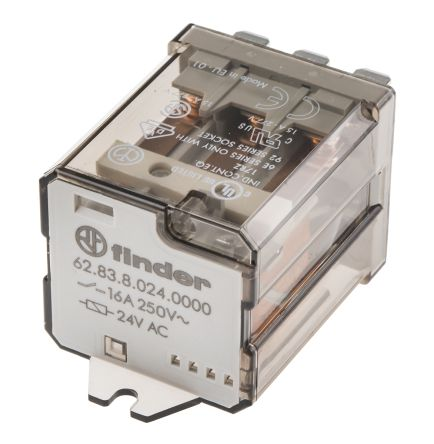 Finder 3PDT Non-Latching Relay Flange Mount, 24V ac Coil, 16 A