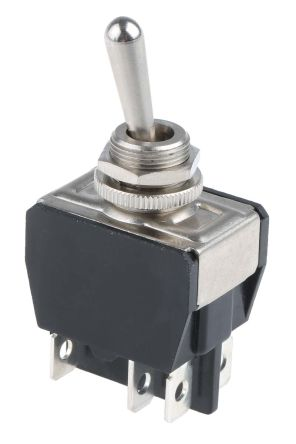 APEM DPDT Toggle Switch, On-Off-On, Panel Mount