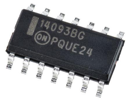ON Semiconductor MC14093BDG, Quad 2-Input NAND Schmitt Trigger Logic Gate, 14-Pin SOIC