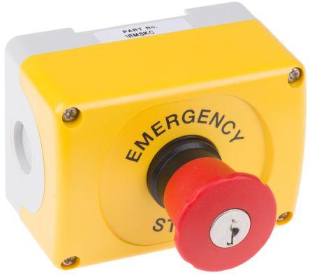 ABB, Red/Yellow/Grey, Key Reset 37mm Round Head Emergency Button