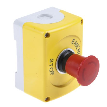 ABB, Red/Yellow/Grey, Twist to Reset 37mm Round Head Emergency Button
