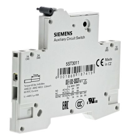 DIN Rail Mount Auxiliary Contact With Screw Terminal, 2NO, 6 A, 230 V ac product photo