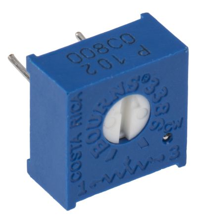 1kΩ, Through Hole Trimmer Potentiometer 0.5W Top Adjust Bourns, 3386