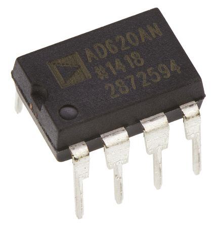 AD620ANZ Analog Devices, Instrumentation Amplifier, 0.125mV Offset 1MHz, 8-Pin PDIP