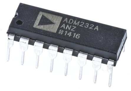 Analog Devices ADM232AANZ, Line Transceiver, RS-232 2-TX 2-RX, 5 V, 16-Pin PDIP