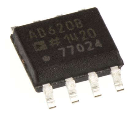Analog Devices AD620BRZ, Instrumentation Amplifier, 0.05mV Offset 120kHz, 8-Pin SOIC