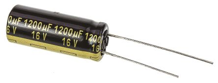 Panasonic 1200μF Electrolytic Capacitor 16V dc, Through Hole - EEUFM1C122L