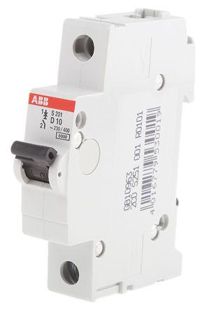 System M Pro S200 MCB Mini Circuit Breaker 1P, 10 A, 6 kA, Curve D
