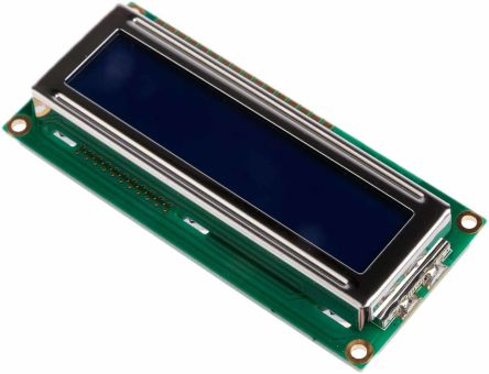 Displaytech 162C-CC-BC-3LP Alphanumeric LCD Display, White on Blue, 2 Rows by 16 Characters, Transflective