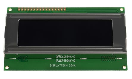 Displaytech 204A-GC-BC-3LP Alphanumeric LCD Display, White on Black, 4 Rows by 20 Characters, Transflective