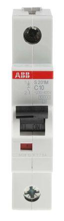 ABB System M Pro S200 MCB Mini Circuit Breaker 1P, 10 A, 10 kA, Curve C